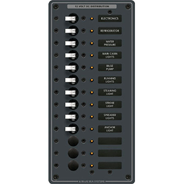 Blue Sea 12/24V DC Branch Circuit Breaker Panel - 13 Positions