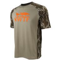NWTF Men's Performance Raglan Short-Sleeve Tee, Mossy Oak Bottomlands Camo