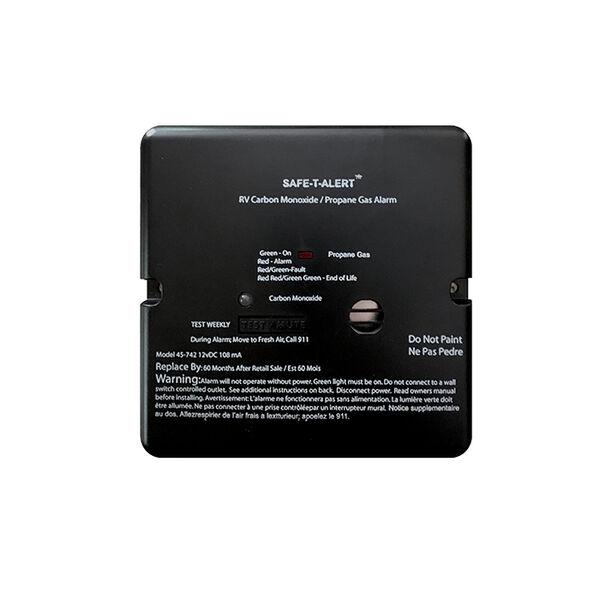 Safe-T-Alert 45 Series Flush-Mount RV Dual Carbon Monoxide / Propane Alarm, Black