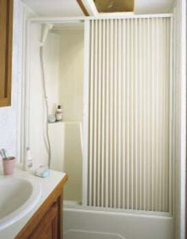 """Pleated Shower Door, White - Up to 60"""" W x 57 """" L"""