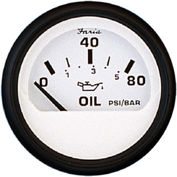 "Faria 2"" Euro White Series Oil Pressure Gauge, 80 PSI"