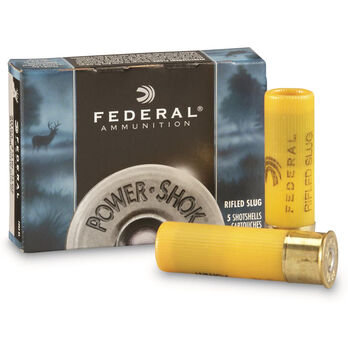 "Federal Ammunition Power-Shok Rifled Slugs, 12-ga., 3"", 1-1/4 oz."