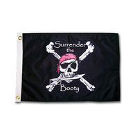 """Pirate Heads """"Surrender the Booty"""" Boat Flag"""