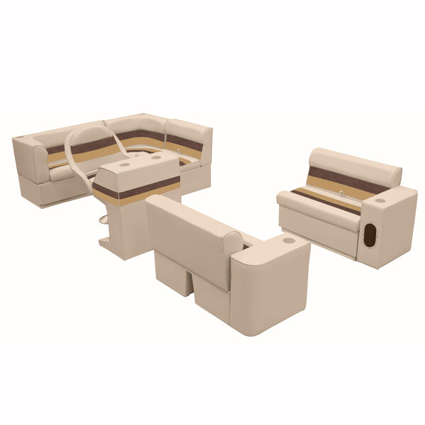Deluxe Pontoon Furniture with Toe Kick Base, Group 1 Package, Sand/Chestnut/Gold