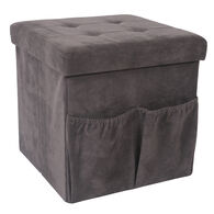 Foldable Suede Storage Ottoman, Charcoal