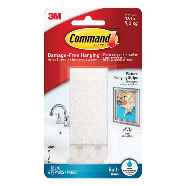 Command Large Bath Picture Hanging Strips, 4 Pack, White