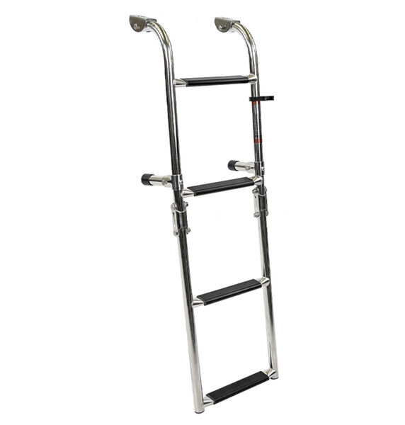 Overton's Transom Mounted 4 Step Stainless Steel Folding Ladder