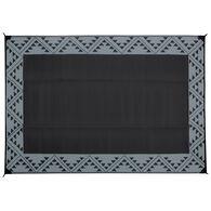 Reversible RV Patio Mat with Aztec Border Design, 6' x 9', Black/Gray