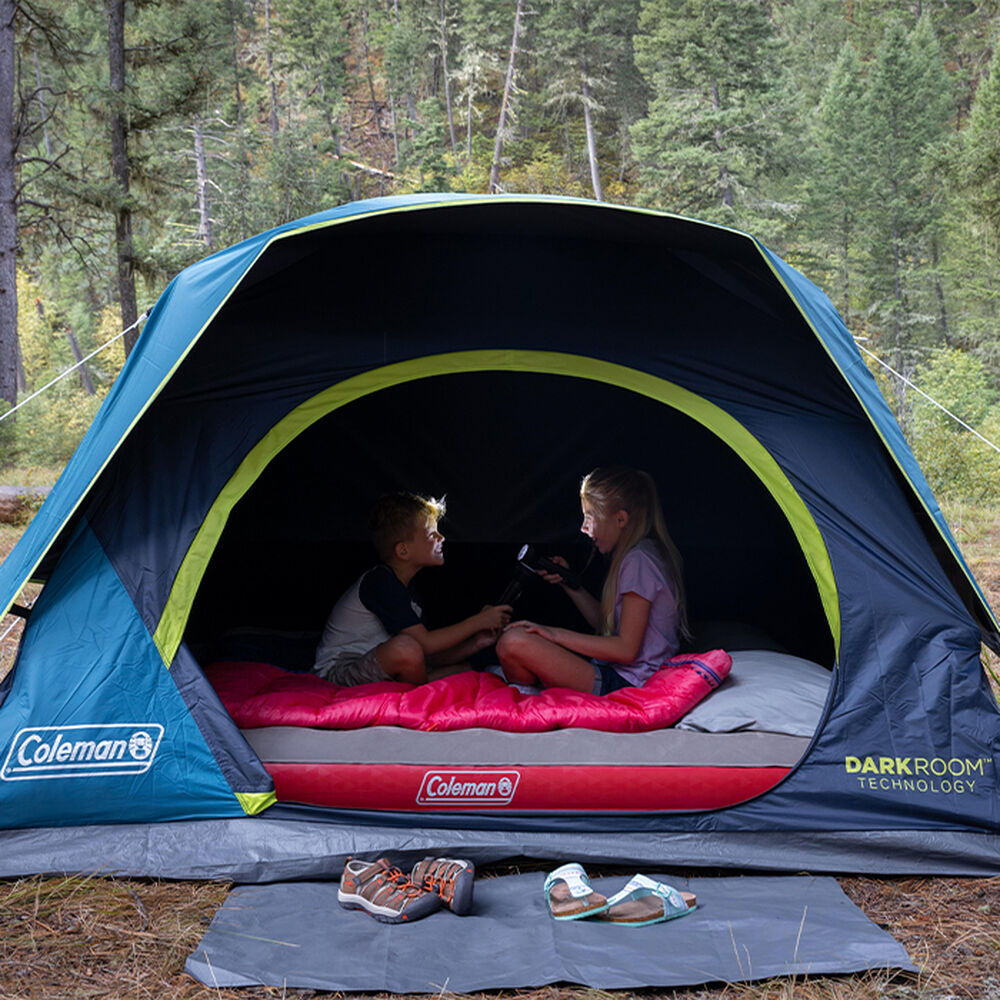 Coleman Dark Room Skydome 4-Person Camping Tent, Blue ...