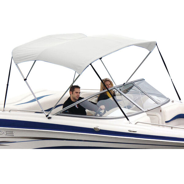 Shademate White Vinyl Stainless 3-Bow Bimini Top 6'L x 46''H 61''-66'' Wide