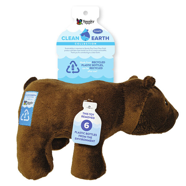 Spunky Pup Clean Earth Plush Bear Toy, Large