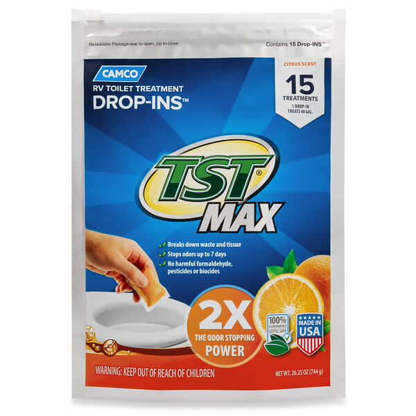 Camco TST MAX RV Toilet Treatment, Citrus Scent, 15 Drop-Ins