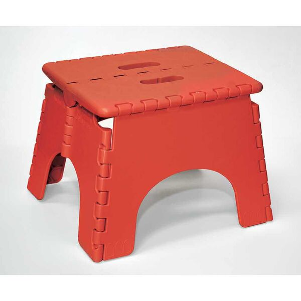 "E-Z Foldz Folding Step Stool, 9"" - Red"