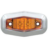 Mini Sealed LED Clearance/Marker Light; Amber; w/ Chrome Trim Ring