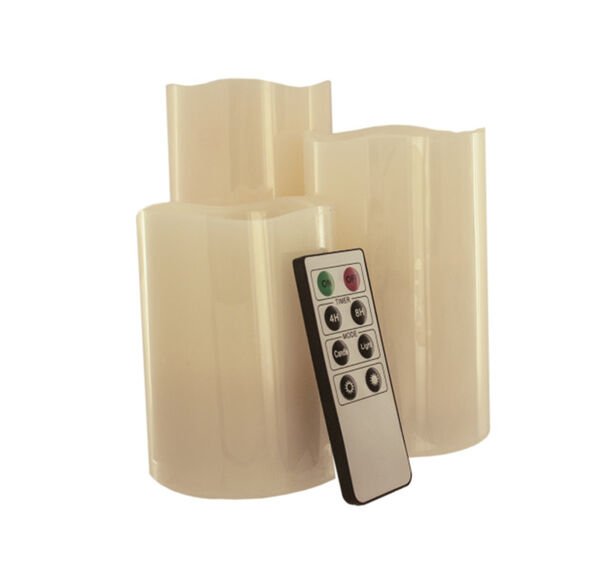 Vanilla-Scented 3-Piece Flameless Candle Set with Remote