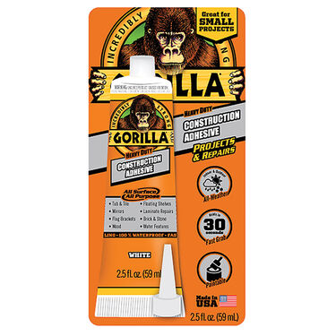 Gorilla Construction Adhesive, 2.5 oz. Tube