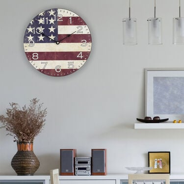 "La Crosse 12"" American Flag Wall Clock"