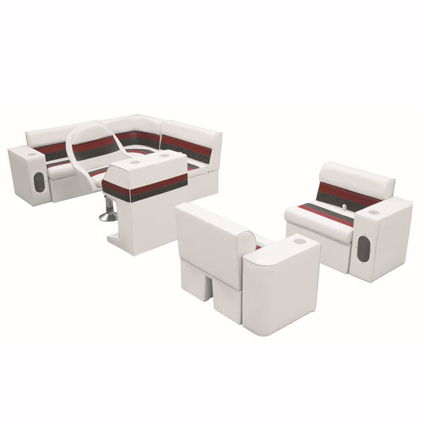 Deluxe Pontoon Furniture w/Classic Base - Complete Boat Package H, White/Red/Cha