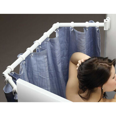 Extend-A-Shower Expanding Shower Rod, White Finish