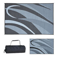 Reversible Graphic Design RV Patio Mat, 8' x 20', Black/Silver