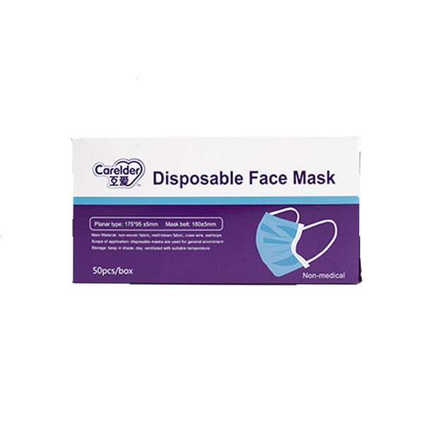 Carelder Disposable 3-Ply Face Masks, 50-pack