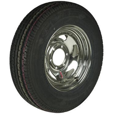Trailer King II ST225/75 R 15 Radial Trailer Tire, 6-Lug Chrome Directional Rim