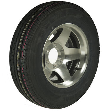 Trailer King II ST225/75 R 15 Radial Trailer Tire, 6-Lug Aluminum Black Star Rim