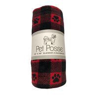 Pet Posse Coral Fleece Pet Blanket, Red Buffalo Check