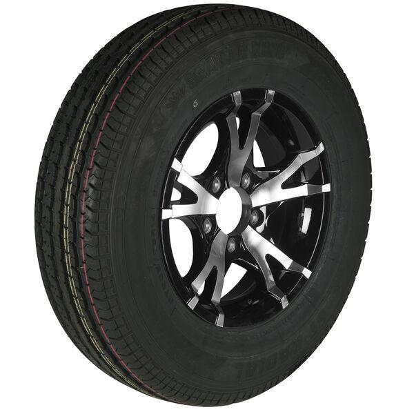 Trailer King II ST215/75 R 14 Radial Trailer Tire, 5-Lug Aluminum T07 Black Rim