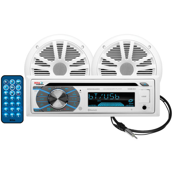 """Boss MCK508WB.6 AM/FM/MP3/USB/CD Bluetooth Receiver Package w/Two 6.5"""" Speakers"""