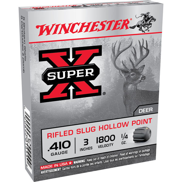 "Winchester Super-X Rifled Slug Shotshells, .410 Bore, 3"", 1/4-oz."