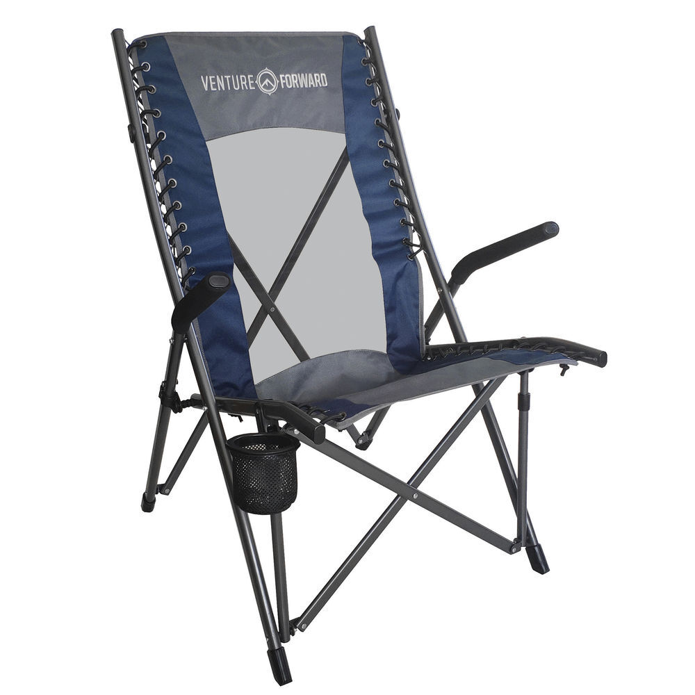 High Back Bungee Camp Chair Blue Gray Gander Outdoors