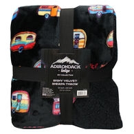 "Adirondack Lodge Shiny Velvet Sherpa Throw, 50"" x 60"""