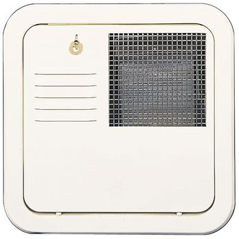 White Flush-Mount Radius Corner Access Door with Frame for 4 & 6 gallon models.