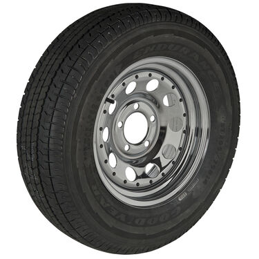Goodyear Endurance ST205/75 R 14 Radial Trailer Tire, 5-Lug Chrome Modular Rim