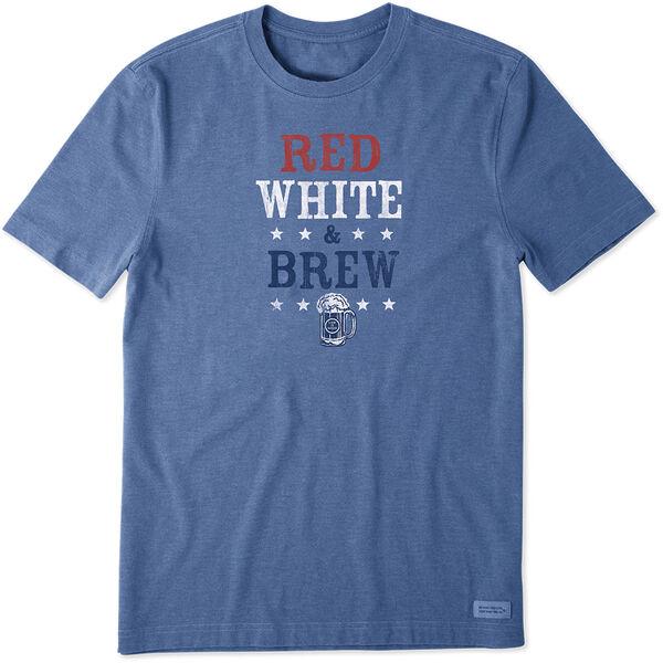 Life Is Good Men's Red White & Brew Crusher Short Sleeve Tee