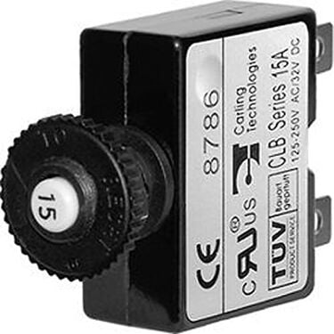 Blue Sea Push-Button Reset-Only Quick-Connect Thermal DC Circuit Breaker, 20A