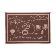 "Reversible ""Home Is Where We Park It"" RV Patio Mat, 8' x 11', Brown/Beige"