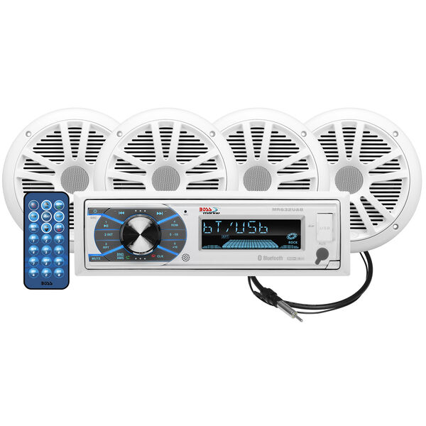 """Boss MCK632WB.64 AM/FM/MP3/USB Bluetooth Receiver Package w/Four 6.5"""" Speakers"""
