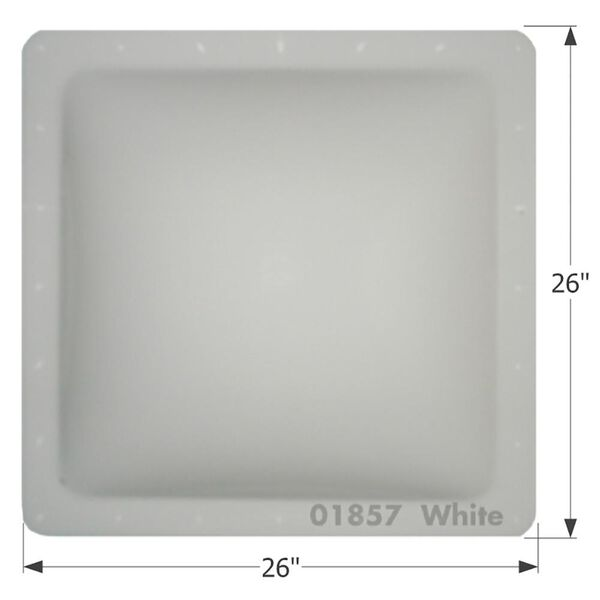 """RV Escape Hatch Lid, Thermoformed Polycarbonate, 26"""" x 26"""", White"""