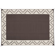 Reversible RV Patio Mat with Aztec Border Design, 6' x 9', Brown/Taupe
