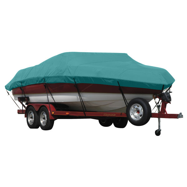 """Exact Fit Covermate Sunbrella Boat Cover for Vip Bay Stealth 2230  Bay Stealth 2230 Tall W/53"""" Console W/Port Troll Mtr O/B"""