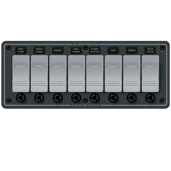 Blue Sea Water-Resistant Contura Switch Fuse Panel - 8-Position Horizontal