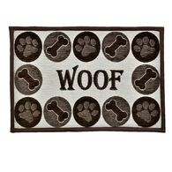 "Woof Chenille Design Pet Food & Water Bowl Mat, 12.75"" x 19"", Brown/Beige"
