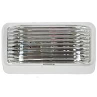 RV Porch Light, Rectangular White with Clear Lens, No Switch
