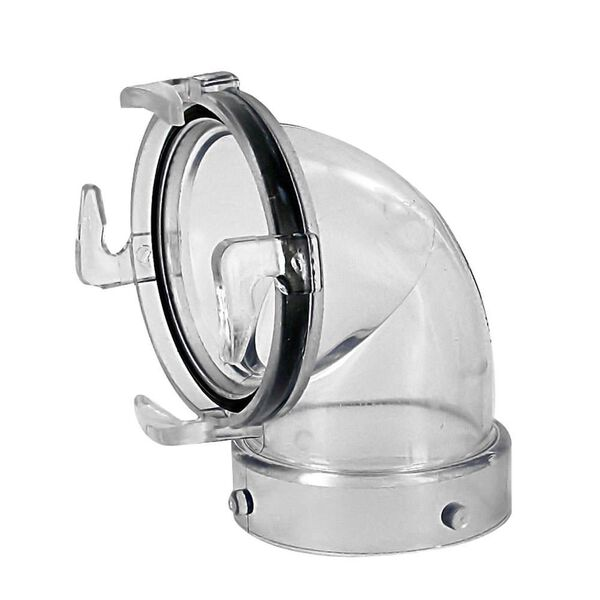 90 Degree Clear Sewer Hose Adapter with Bayonet Lugs