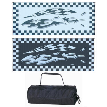 Reversible Checkered Flag Design RV Patio Mat, 8' x 20', Blue/Black