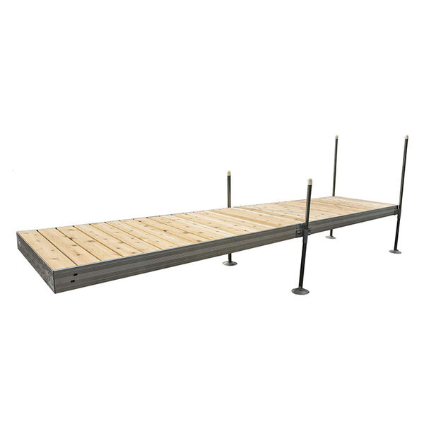 Tommy Docks 16' Straight Aluminum Frame With Cedar Decking Complete Dock Package