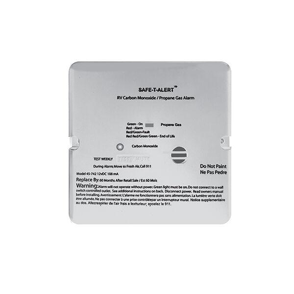 Safe-T-Alert 45 Series Flush-Mount RV Dual Carbon Monoxide / Propane Alarm, White
