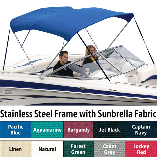 Shademate Sunbrella Stainless 3-Bow Bimini Top 6'L x 46''H 61''-66'' Wide